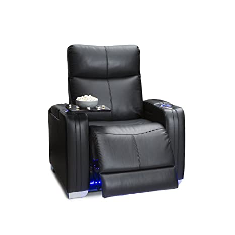 Seatcraft Solstice Leather Power Recliner with Power Lumbar Support,  Adjustable Powered Headrests, and Built-In SoundShaker, Black