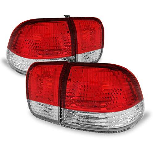 For 1996-1998 Honda Civic 4DR Sedan EJ EK DX LX EX Red Clear Lens Tail Brake Light Lamps Left+Right Side - Civic Honda Tail Lens Light