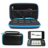 AZFUNN New Nintendo 2DS XL /LL Protective Kit Traveler Case - Portable Storage Carry Case Bag w/ Handle & 8 Game Cards Slots + 2 Screen Protector Film + Stylus for New 2SD XL Game Console (Black Blue)