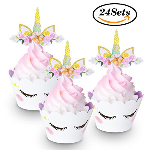 [Unique Design]24 Sets Cute Unicorn Cupcake Toppers and Wrappers(4-Styles,Double Side)with Eyelashes,Horn,Ears and Rainbow,Unicorn Party Supplies for Girls Boys Birthday Party by FZR Legend