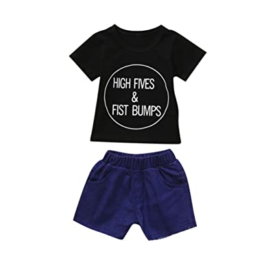 37f1eecd3f84 Amazon.com: Lurryly 2Pcs Toddler Kids Baby Boys Girls Letter Tops+Shorts  Outfits Clothes Set 0-4T: Clothing