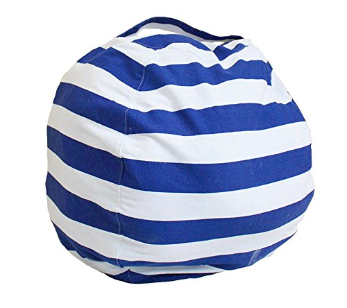 DANGTOP Stuffed Animal Storage Bean Bag Chair (Just cover) - Premium Canvas Easy Solution for Extra Toys/Blankets/Covers/Towels/Clothes Creative Gift for Christmas by (Blue and white Stripe) - Animal Bean Bag Set