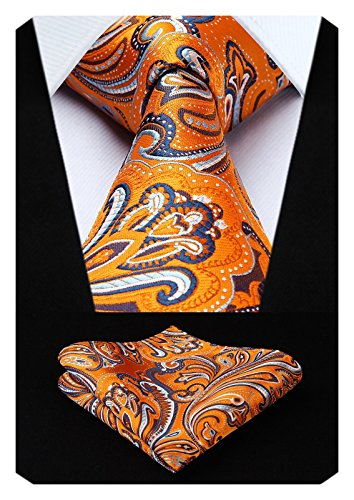 HISDERN Paisley Tie Handkerchief Woven Classic Men's Necktie & Pocket Square Set (Orange) -