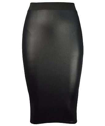 Womens Pvc Midi Skirt Ladies Wet Look Pencil Midi Knee Length ...