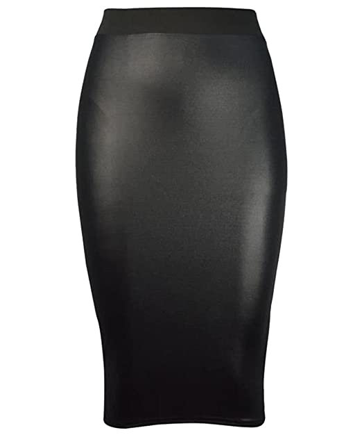 Womens Wet Look Faux Leather Ladies Pencil Stretch Wiggle Midi Skirt Plus Size