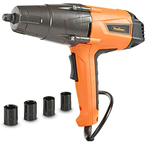VonHaus 8.5 Amp 1/2-inch Electric Impact Wrench Set with Hog Ring Anvil and Carry Case – 260ft-lbs Torque For Sale