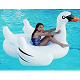 Large Jumbo Inflatable Giant Swan Big Ride On Pool Floatie Summer Fun Pool Toy Lounger Floaty Raft for Kids and Adults White 75 Inches Long