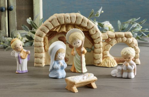 Hallmark the Nativity Collection Inspired by Mary Hamilton 6 Hand Painted Porcelain Figurines ()