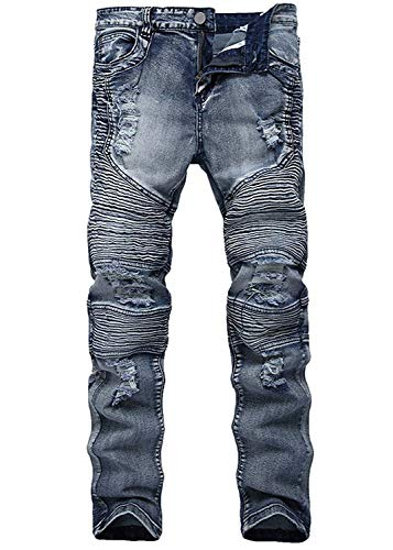 Stretch Da Casual Pantaloni Uomo Stile Lavato Colour Jeans Slim Strappati Denim Faltig Retro Motociclista Hole Semplice Fit 7OZxwdTqx
