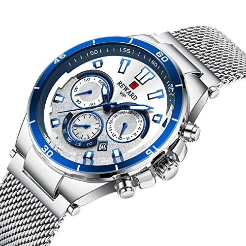Watch Male Three Eye Multi Function Sports Watch Waterproof Men Watch Thickness: 12mm dial Diameter: 45mm case Material: Alloy, White Shell White - Watch Eye Dial