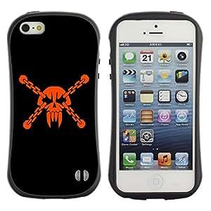Be-Star Impreso Colorido Diseño Antichoque Caso Del iFace Primera Clase Tpu Carcasa Funda Case Cubierta Par Apple iPhone 5 / iPhone 5S ( Badass Vampire Skull & Chains )