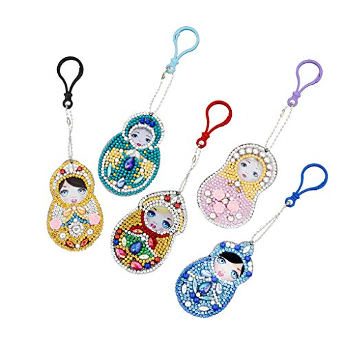 2019 New Gift! Set of 5 Diamond Painting Keychain, 5D Mosaic Making DIY Full Drill Special Shape Diamond Painting Beauty Doll Keychain Key Ring Phone Charm (Set of 5 Doll)