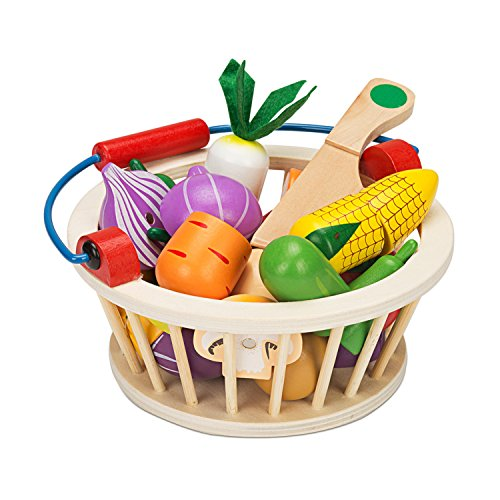 Cutting Food Set (Victostar Magnetic Wooden Cutting Fruits Vegetables Food Play Toy Set With Basket for Kids (Vegetables))