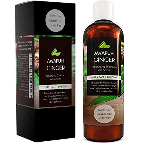 Sulfate Free Moisturizing Shampoo for Dry Curly Hair and Flaking Scalp with Awapuhi Wild Ginger Extract and Keratin Hair Treatment for Long Full Beautiful Hair Natural Cleanser Safe for Colored Hair (Hawaiin Ginger)