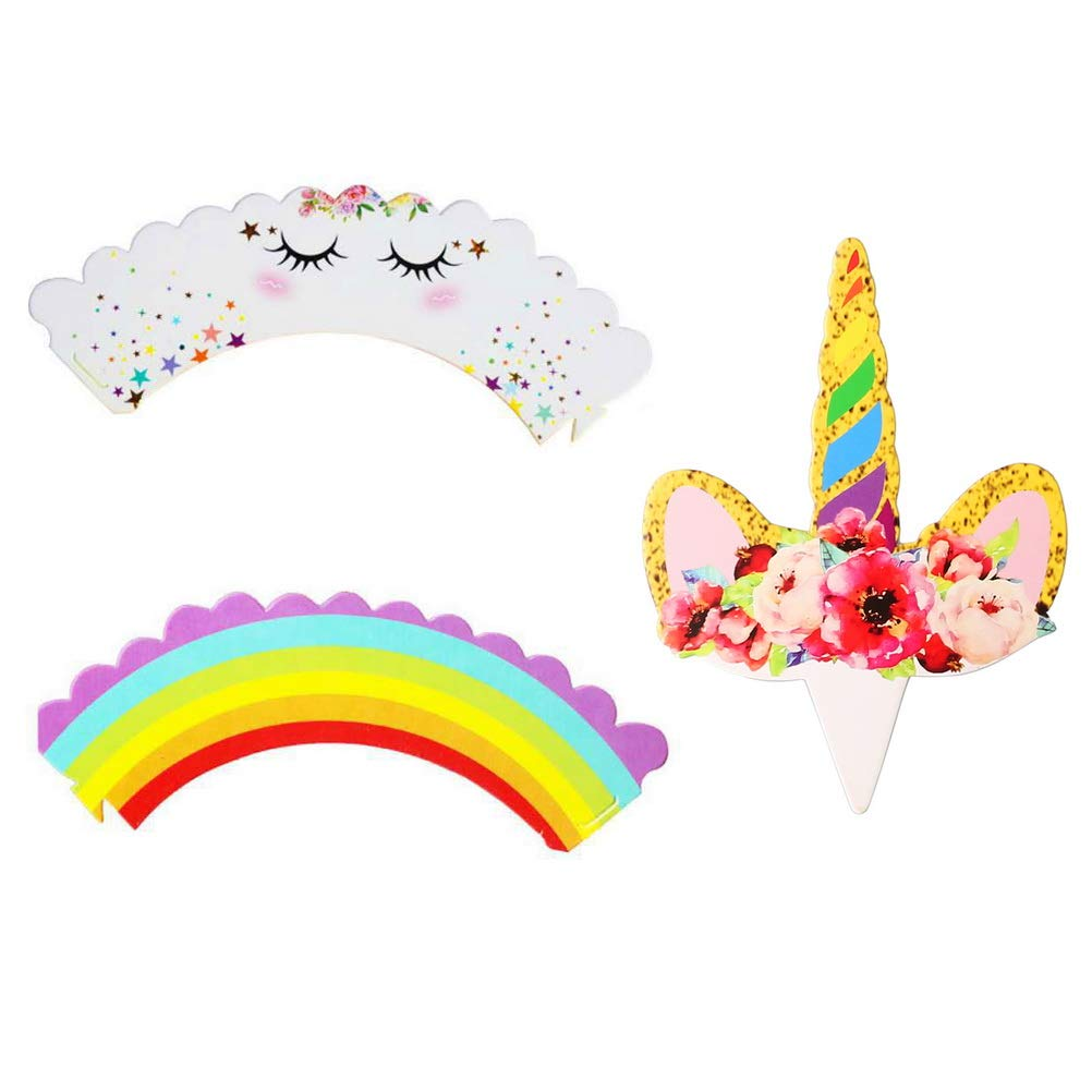 Unicorn Cake Decoration for Kids Birthday Party 24 pack nuosen Unicorn Cupcake Toppers and Cupcake Wrappers Cases Baby Shower Supplies Favours