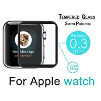 iWatch Band 42mm Screen Protector, 2pcs Full Coverage Tempered Glass Screen Protector Film 3D Curved Clear Display Screen Protector for Apple iWatch 42mm Series 3 2 1 - Black by ENEGG