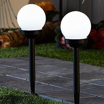 fd3da901aae6 Pack de 2 Solar Powered Globe bola luz redondo blanco LED iluminación de jardín  farol: Amazon.es: Jardín