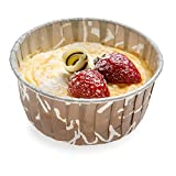 Panificio Premium 5-oz Baking Cups: Large-Pleated Ridge Cups Perfect for Muffins, Cupcakes or Mini Snacks – Brown Chocolate Wisp Print Design – Disposable and Recyclable – 200-CT – Restaurantware