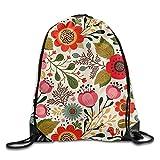 Spring Flowers Pattern Drawstring Bags Portable Backpack Pocket Bag Travel Sport Gym Bag Yoga Runner Daypack
