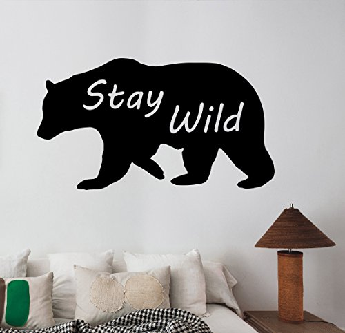 Bear Silhouette Wall Decal Stay Wild Quote Art Vinyl Sticker Wildlife Decorations for Home Living Room Bedroom Animal Decor br10