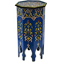 Moroccan Handmade Wood Table Side Tall Delicate Hand Painted Black Exquisite Blue