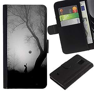 KLONGSHOP / Tirón de la caja Cartera de cuero con ranuras para tarjetas - Scary Girl Tree Halloween Black - Samsung Galaxy S5 Mini, SM-G800, NOT S5 REGULAR!