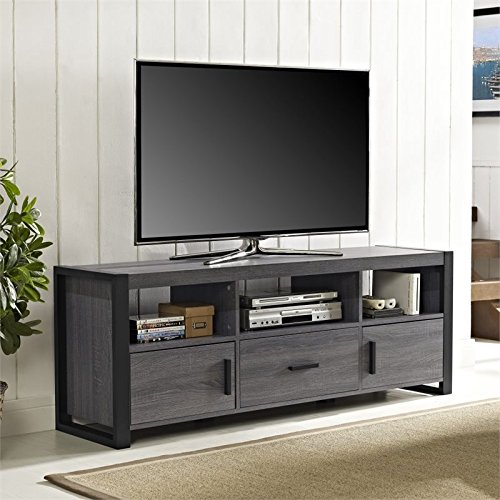 Walker Edison City Grove Collection W60CGS1CL 60'' TV Stand Console with Open Shelving Side Cabinets and Large Storage Drawer in