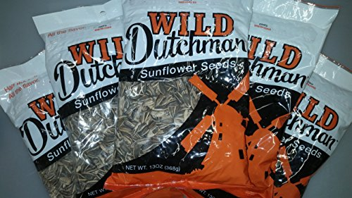 Wild Dutchman Sunflower Seeds - Unique Family Recipe Containing No GMOs Half the Salt Hearty Crunch Made in the USA (13 oz / Pack of 12)