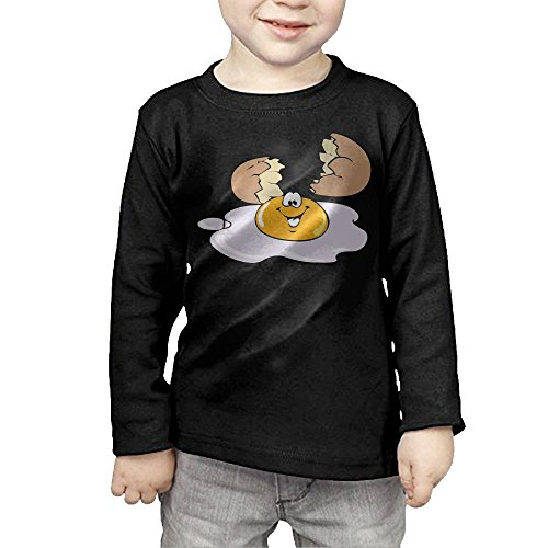 Mereman Boys & Girls Baby Happy Egg Soft 100% Cotton T-Shirts Unisex Black 5-6 Toddler