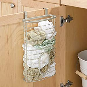 mDesign Metal Over Cabinet Kitchen Storage Organizer Holder or Basket – Hang Over Cabinet Doors in Kitchen/Pantry – Holds up to 50 Plastic Shopping Bags – Satin