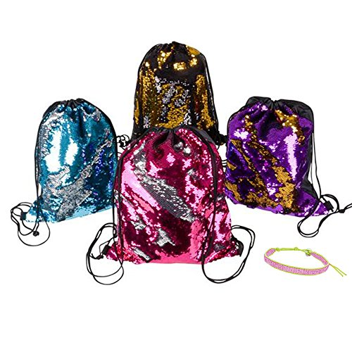 6 Pack Mermaid Sequin Drawstring Bag, Flip Sequin Bag: Travel, Party Favors, Prizes, Beach, Poolside, Hiking, Gym, School Spirit, Cheerleading, Dance, Gymnastics (Assorted Colors)]()
