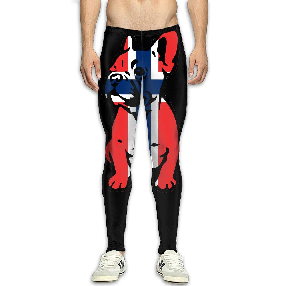 OIIH08-0 Norway Flag Bulldog Men Compression Tights Base Layer Dry Cool Running Long Pants Men