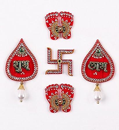 Itiha Shubh Labh,Lakshmi Feet,Hindu Swastika Acrylic Showpiece Door Hanging  Diwali Gift/Festive Gift/haldi kumkum Return Gift/puja thali/Wedding