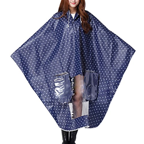 Zhhlinyuan Motorcycle Rainwear Poncho Unisex Hooded Waterproof Raincoat Blue