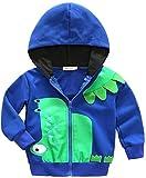 Infant Boys 3D Cartoon Dinosaur Hoodies Zipper Jacket Windproof Outerwear Coat Size 4-5 Years/Tag120 (Light Blue)