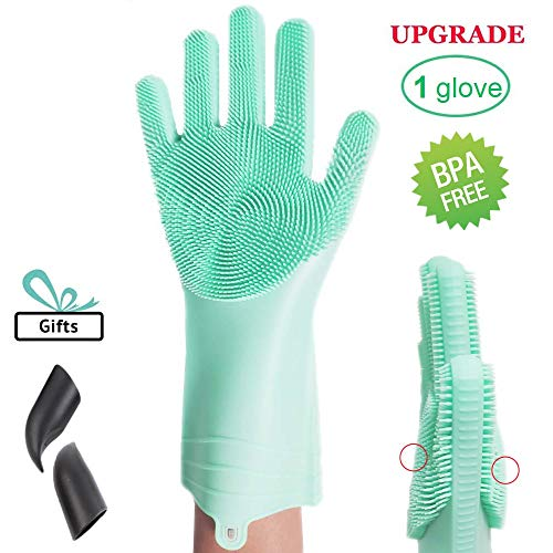 Magic Silicone Dishwashing Gloves, with Double-Sided Scrubbers Reusable Cleaning Gloves Heat Resistant Great for Household, Kitchen, Bathroom, Car, Pet Hair Care (1glove, Upgraded Green)