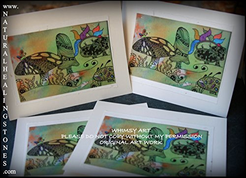 Mardi Gra, party in the garden with the pixies, original artwork on 4, 4x5 blank white note cards. WHIMSY ART ~ made to inspire light spirits and happy hearts.