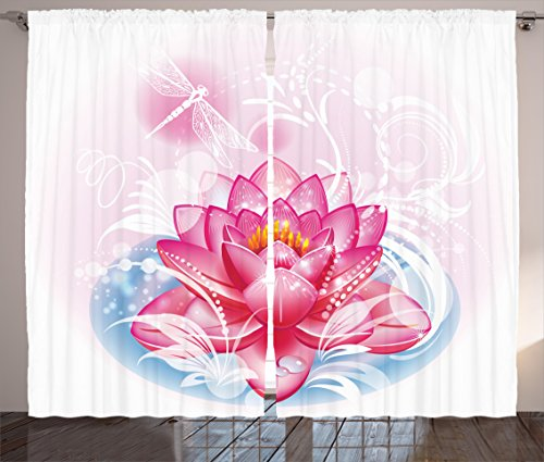 """Ambesonne Flower Curtains, Mandala Motif Orient Yoga Theme Lotus Flower with Abstract Mantis and Dots Photo, Living Room Bedroom Window Drapes 2 Panel Set, 108"""" X 63"""", Pink"""