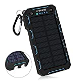 X-DNENG Solar Charger, 15000mAh Solar Power Bank,2.4A Output 2-Port External Battery Charger Cellphone Charger with Powerful LED Lights Waterproof for iPhone,Samsung,Tablets and More USB Devices