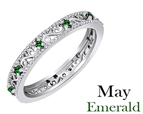 Round Cut Simulated Green Emerald Stackable Ring In 14K White Gold Over Sterling Silver Emerald Vvs2 Ring