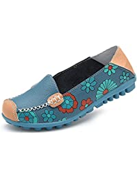 Womens Casual Slip-On Flats Floral Moccasin Gommino Driving Genuine Leather Loafer Footwear Shoes
