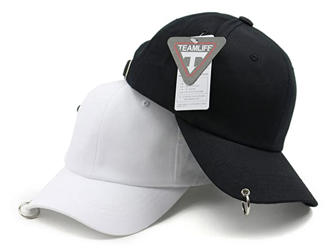 2547fd41c0f Teamlife Unisex One Ring Pierced Mens Baseball Cap Adjustable Size K-Pop  Hip Hop Hat