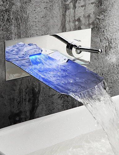 Waschbecken Wasserhahn mit Chrom-Finish Farbwechs?l LED Wasserfa?l Wasserhahn Wandhalterung