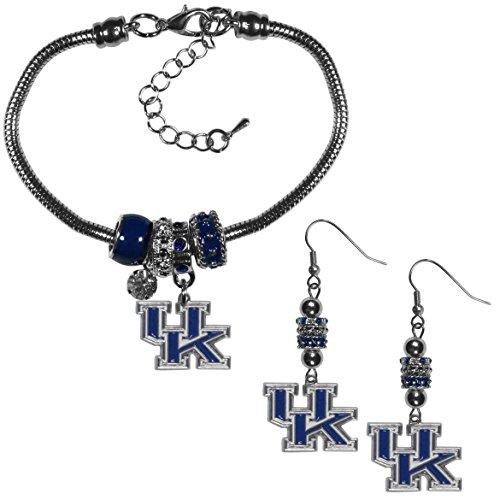 Siskiyou NCAA Kentucky Wildcats Euro Bead Earrings & Bracelet Set