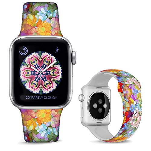 DOO UC Floral Bands Compatible with iWatch 38mm/40mm,Seabed Coral Silicone Fadeless Pattern Printed Replacement Bands for A pple Watch Series 4/3/2/1, M/L for Women/Men (Doo Replacement)