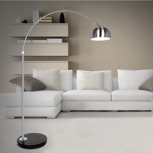 schindora silver chrome arco style arc floor lamp with marble base and lampshades light s