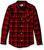 Lucky Brand Boys' Big Long Sleeve Plaid Button Down Shirt, Scarlet sage, Medium (10/12)