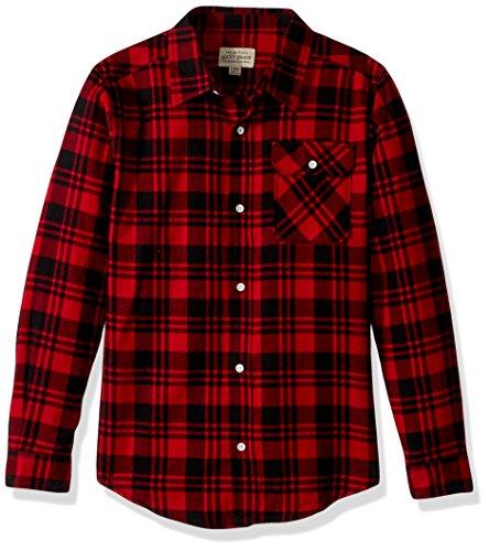 Lucky Brand Boys' Long Sleeve Plaid Button Down Shirt, Scarlet sage, ()