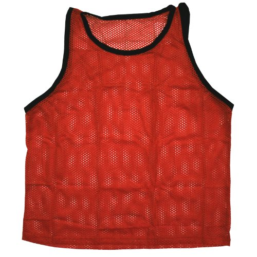 BlueDot Trading Youth Red sports pinnie scrimmage training vest (Pinnie Nylon Adult Mesh)