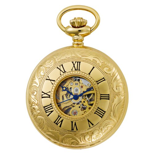 Gotham Men's Gold-Tone 17 Jewel Mechanical Exhibition Pocket Watch # - Watch Pocket 15 Jewels
